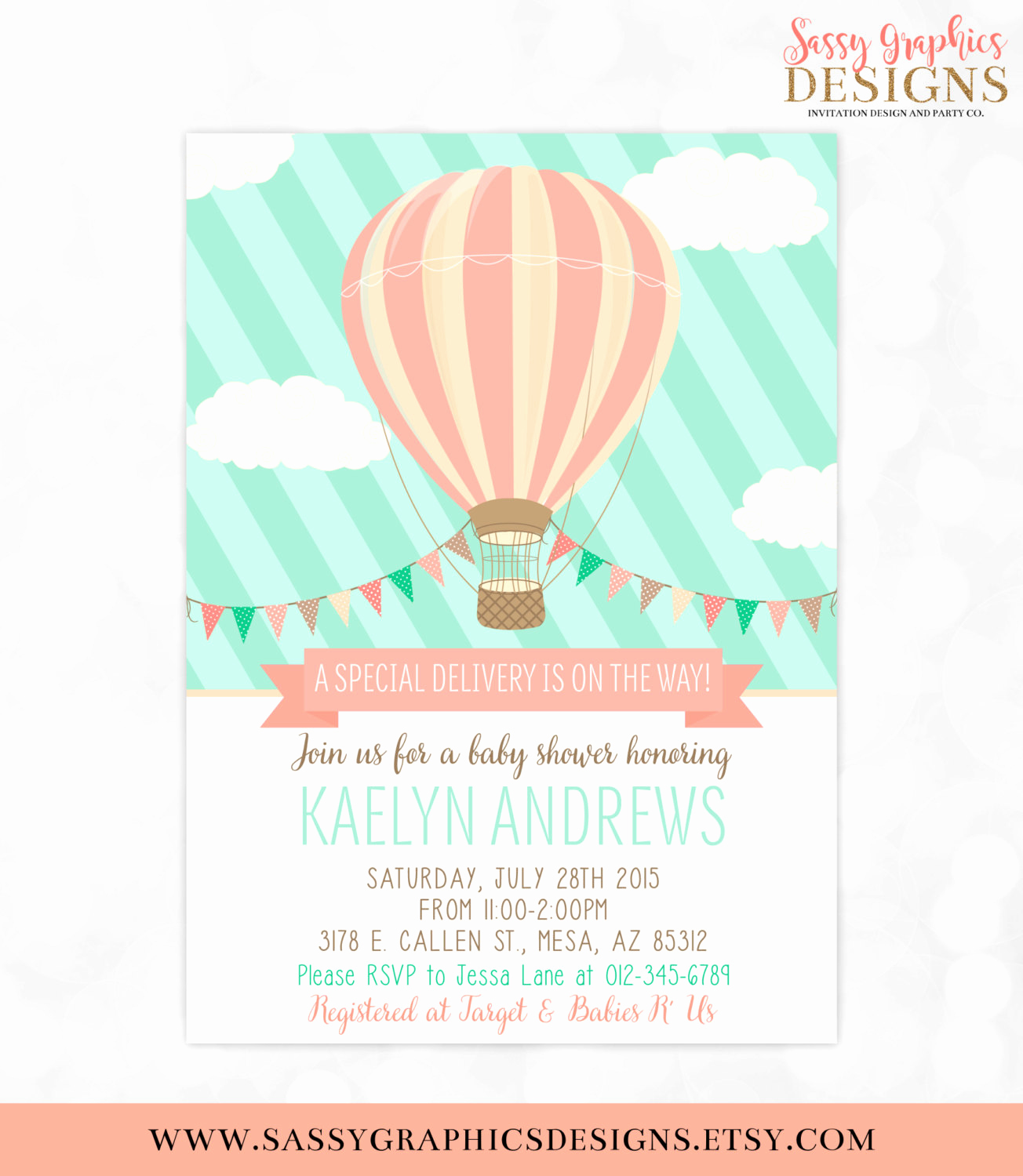 Hot Air Balloon Invitation Beautiful Hot Air Balloon Baby Shower Invitation Mint Coral Baby Shower