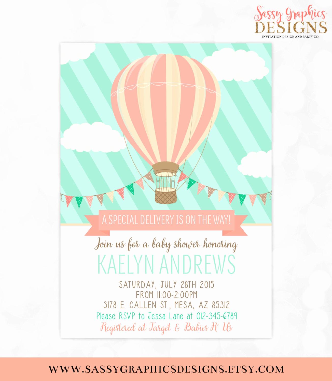 Hot Air Balloon Invitation Beautiful Hot Air Balloon Baby Shower Invitation Mint Coral Baby Shower