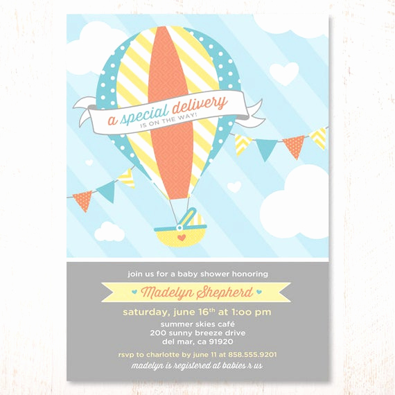 Hot Air Balloon Invitation Beautiful Hot Air Balloon Baby Shower Invitations Blue and Yellow by
