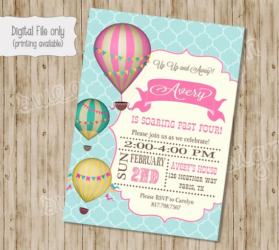 Hot Air Balloon Invitation Beautiful Hot Air Balloon Birthday Invitation Vintage Hot Air Balloon