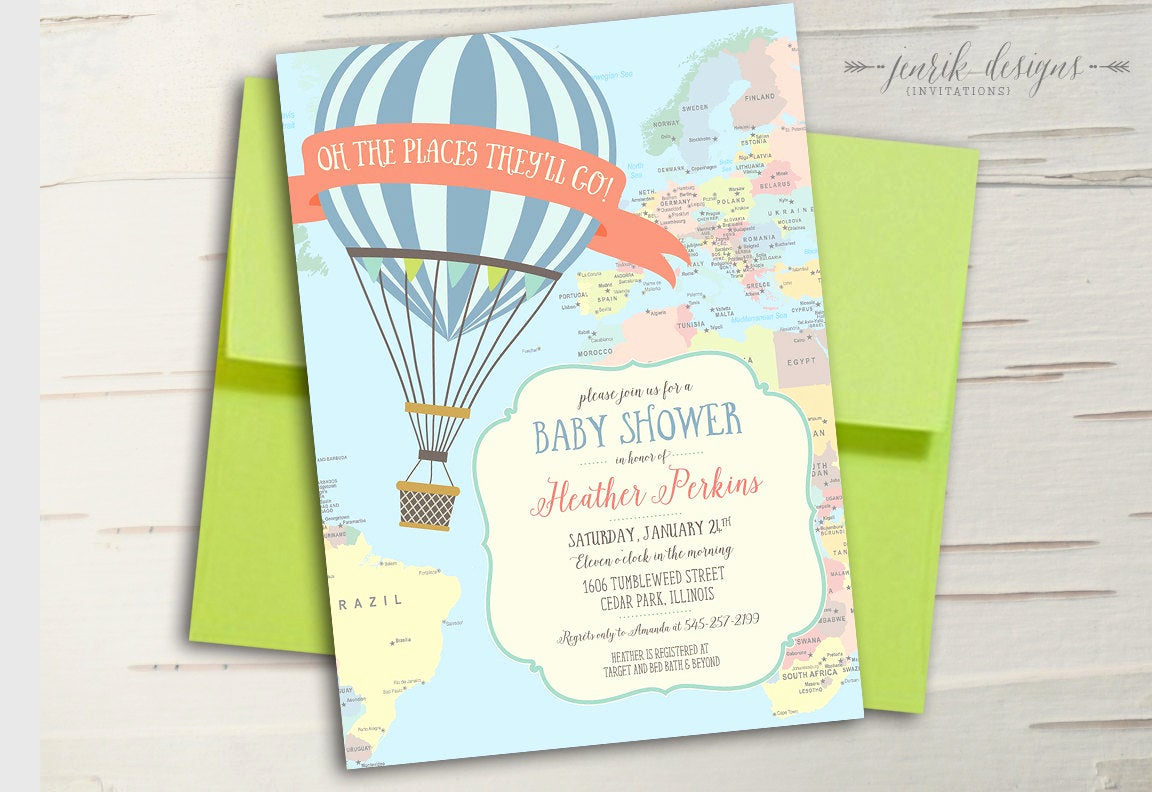 Hot Air Balloon Invitation Best Of Hot Air Balloon Baby Shower Invitation Oh the Places