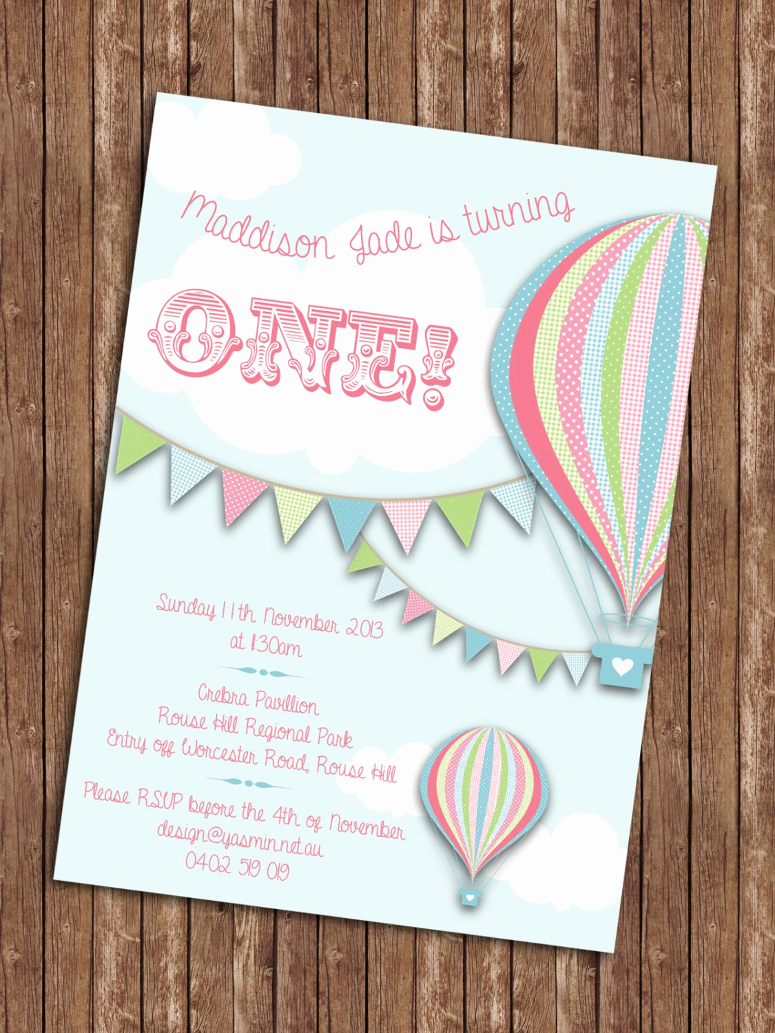 Hot Air Balloon Invitation Elegant Hot Air Balloon Birthday Invitation