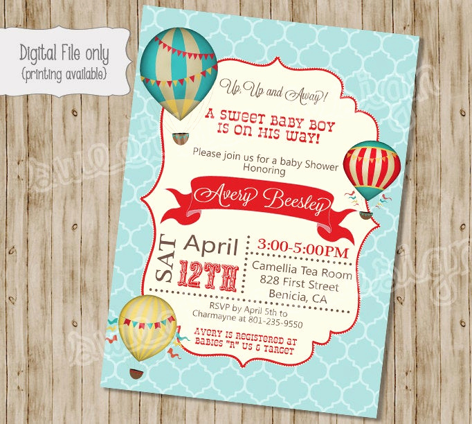 Hot Air Balloon Invitation Fresh Baby Shower Invitation Hot Air Balloon Baby Shower Invitation