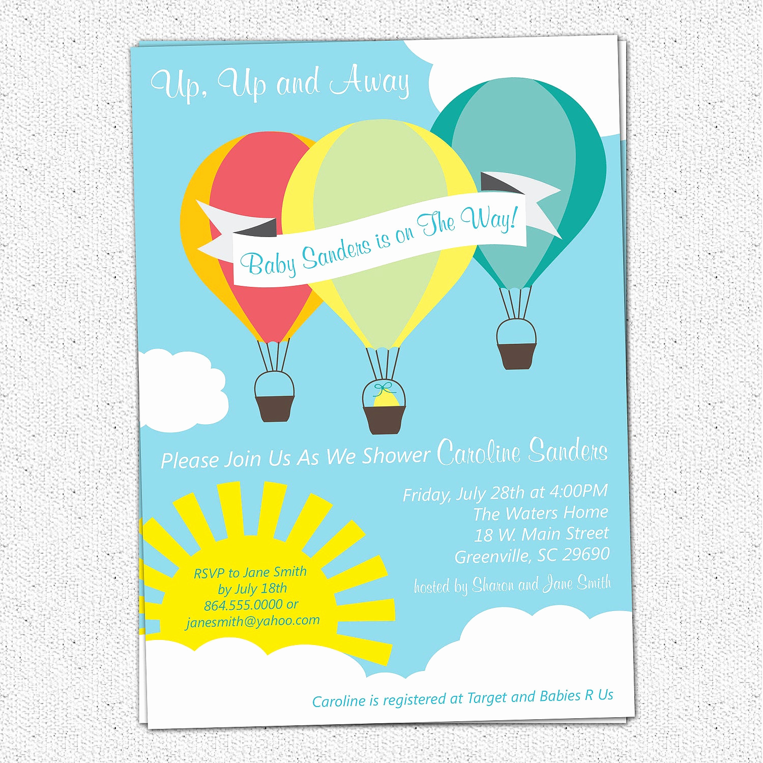Hot Air Balloon Invitation Fresh Hot Air Balloon Sunshine Baby Shower Invitation Printable
