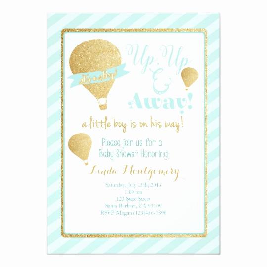Hot Air Balloon Invitation Inspirational Hot Air Balloon Baby Shower Invitation