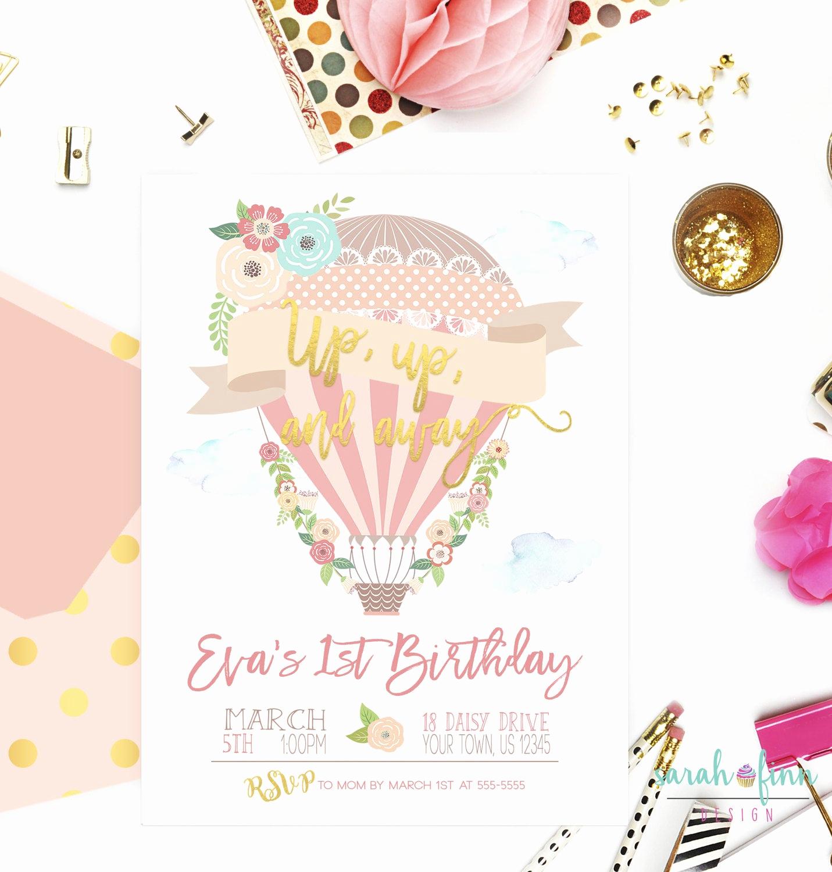 Hot Air Balloon Invitation Inspirational Hot Air Balloon Birthday Invitation Up Up and Away Hot Air