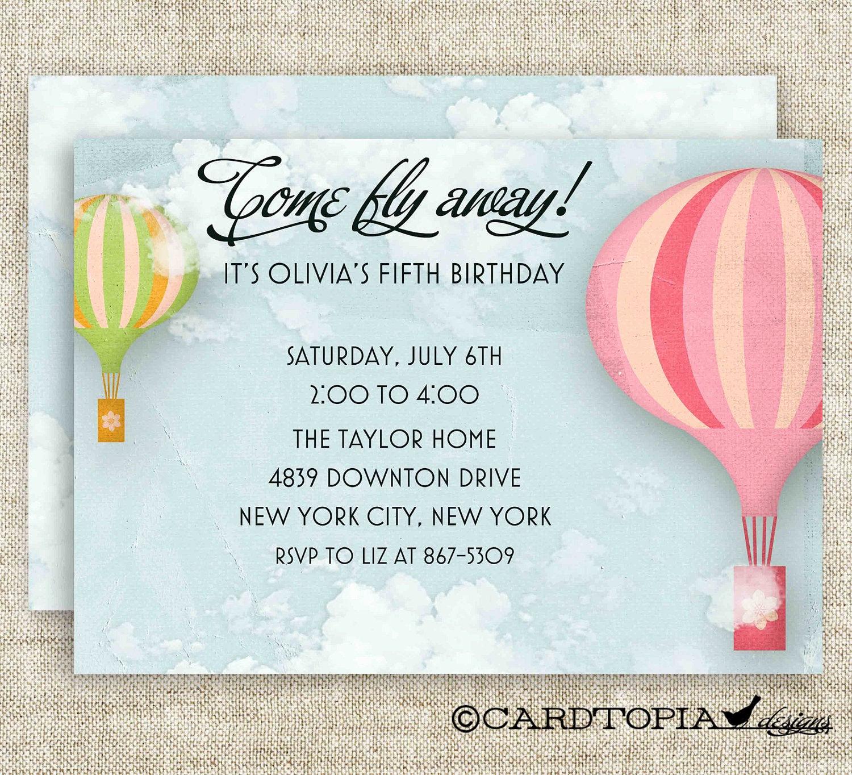 Hot Air Balloon Invitation Inspirational Vintage Hot Air Balloon Birthday Party Invitations Girl