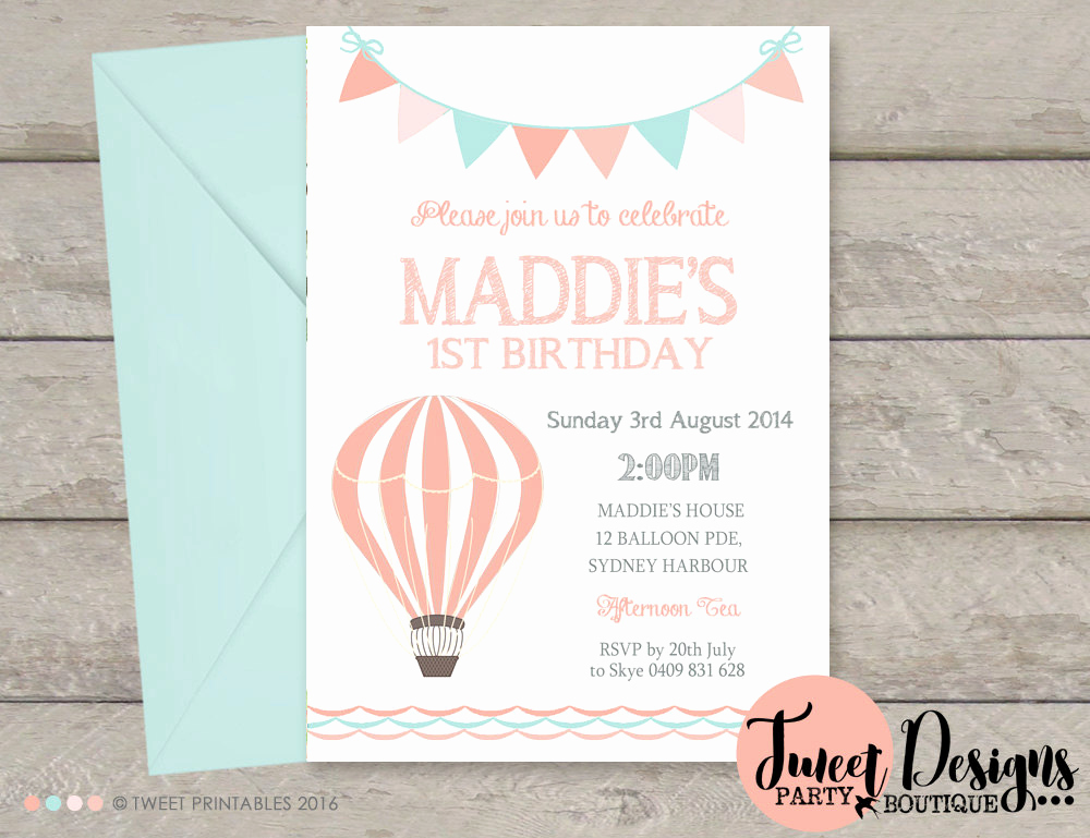 Hot Air Balloon Invitation Lovely Girl Hot Air Balloon Invitations Printable Birthday