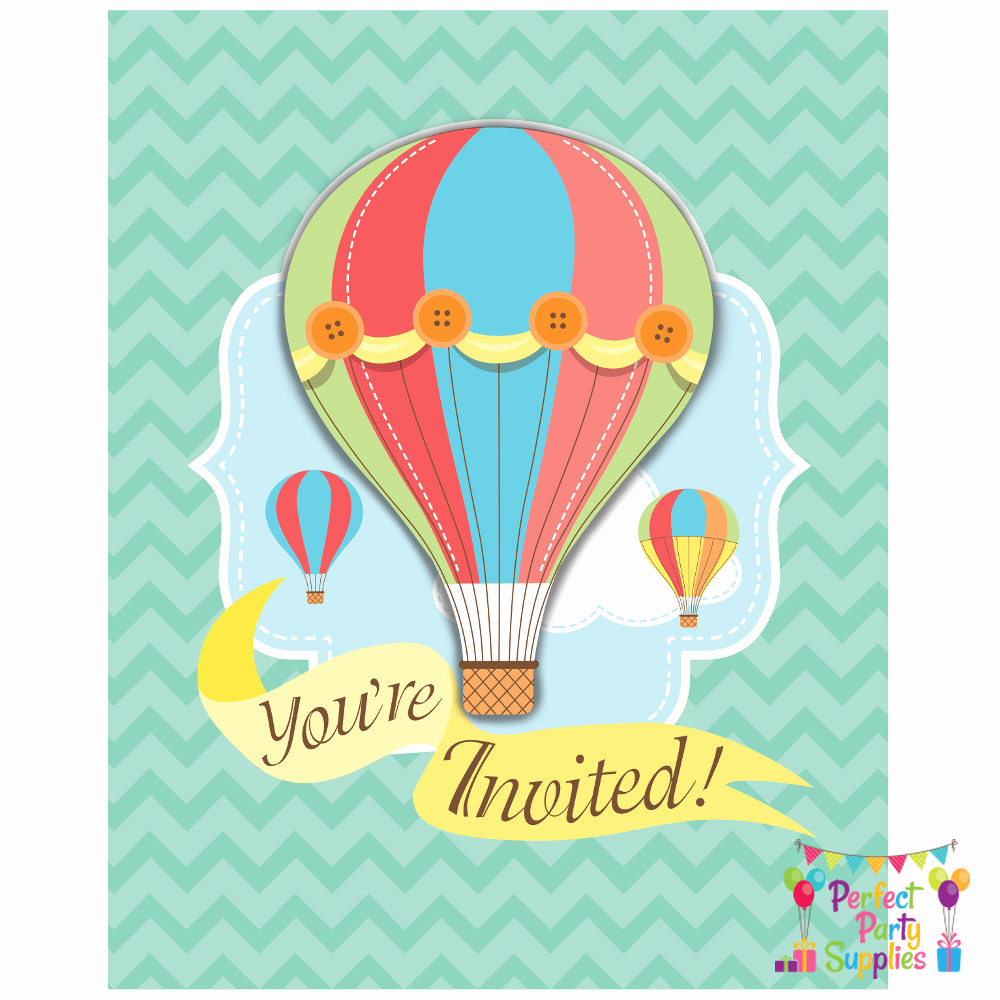 Hot Air Balloon Invitation Lovely Hot Air Balloon Invitations 8 Pack Baby Shower Party