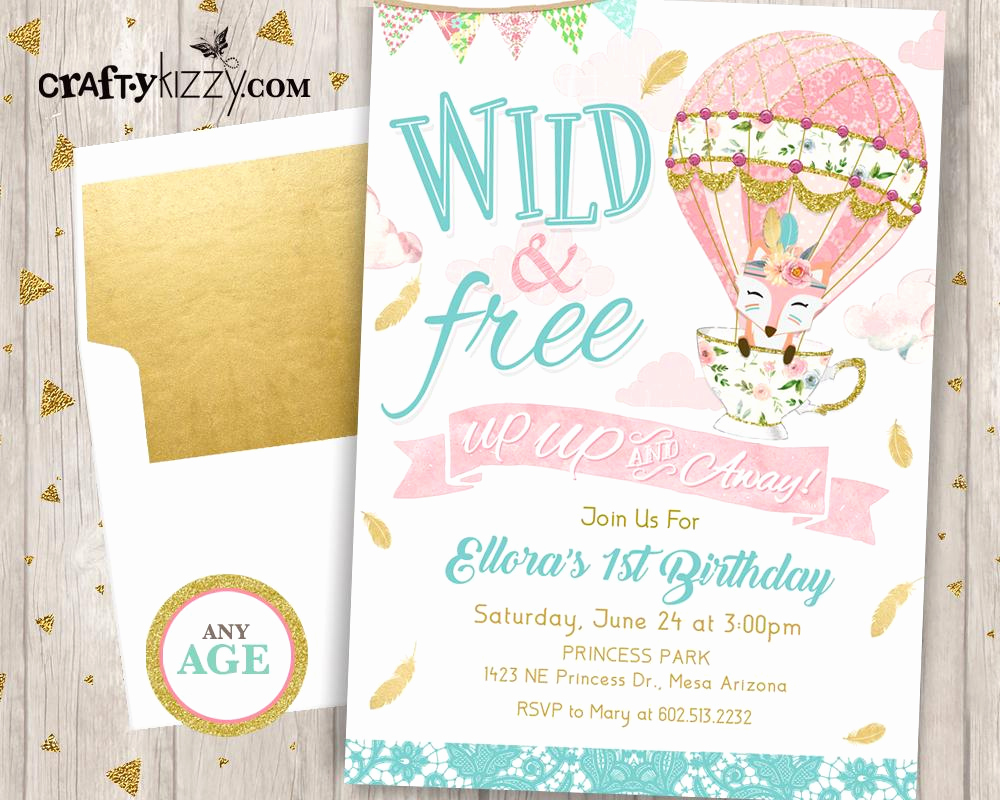 Hot Air Balloon Invitation Lovely Up Up and Away First Birthday Invitation Girl Wild and