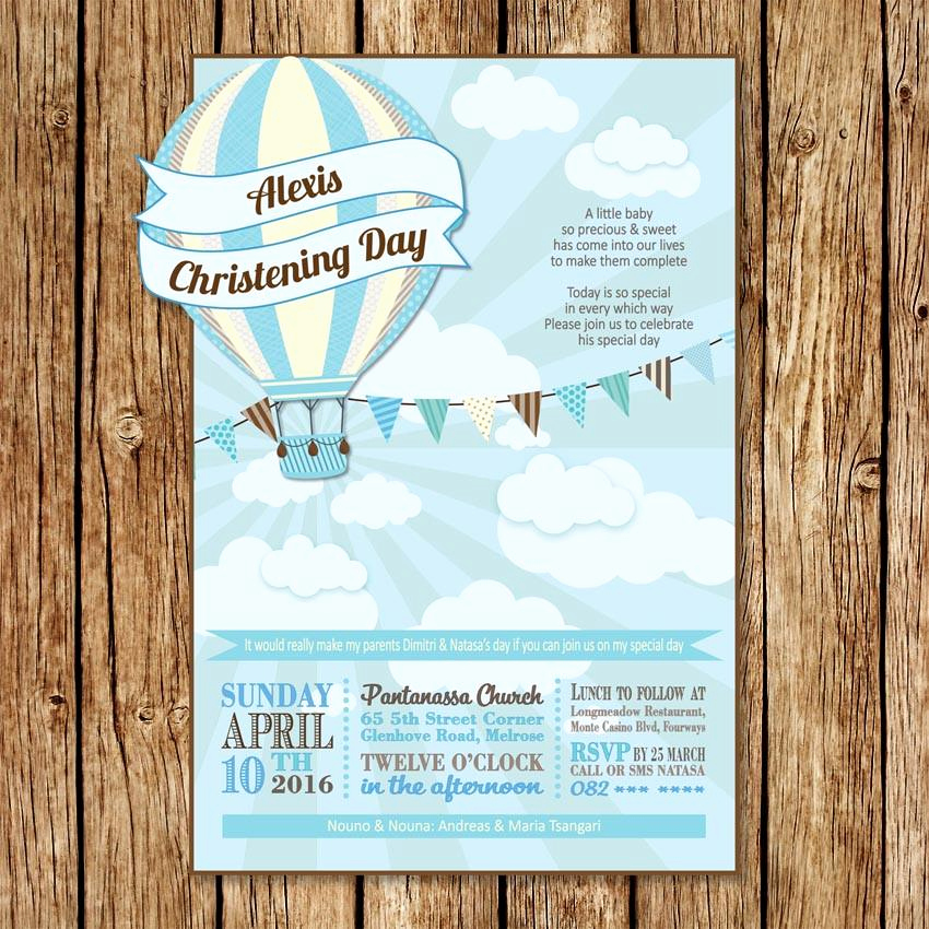 Hot Air Balloon Invitation Luxury Hot Air Balloon Christening Invitation – Love My Goo S