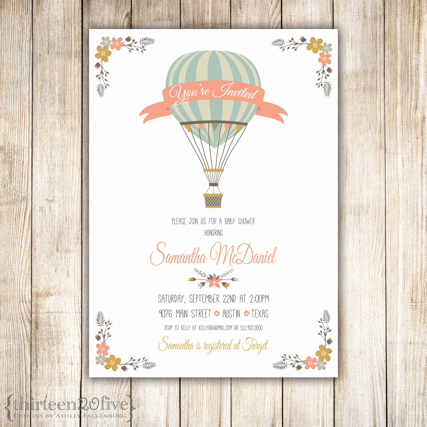 Hot Air Balloon Invitation Unique Hot Air Balloon Baby Shower Invitation Diy 013