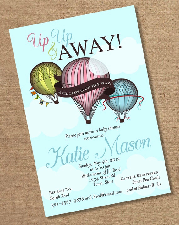 Hot Air Balloon Invitation Unique Hot Air Balloon Invitation Printable Color by Gretchee On Etsy