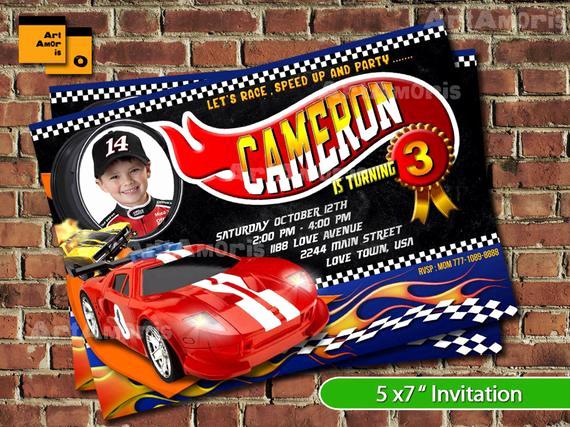 Hot Wheels Invitation Template Elegant Boy Racing Car Birthday Invitation Racing Car Invitation