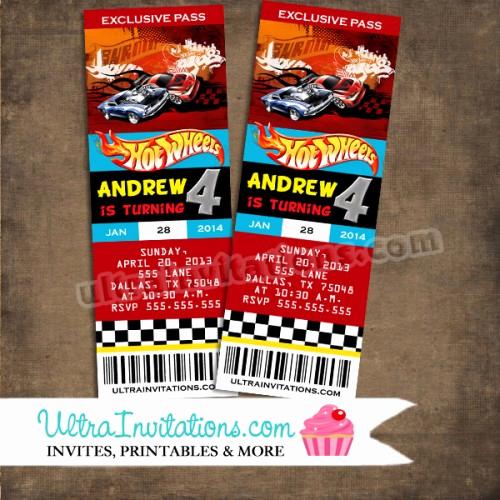 Hot Wheels Invitation Template Elegant Cars Hot Wheel Ticket Invitations Party Vip Pass