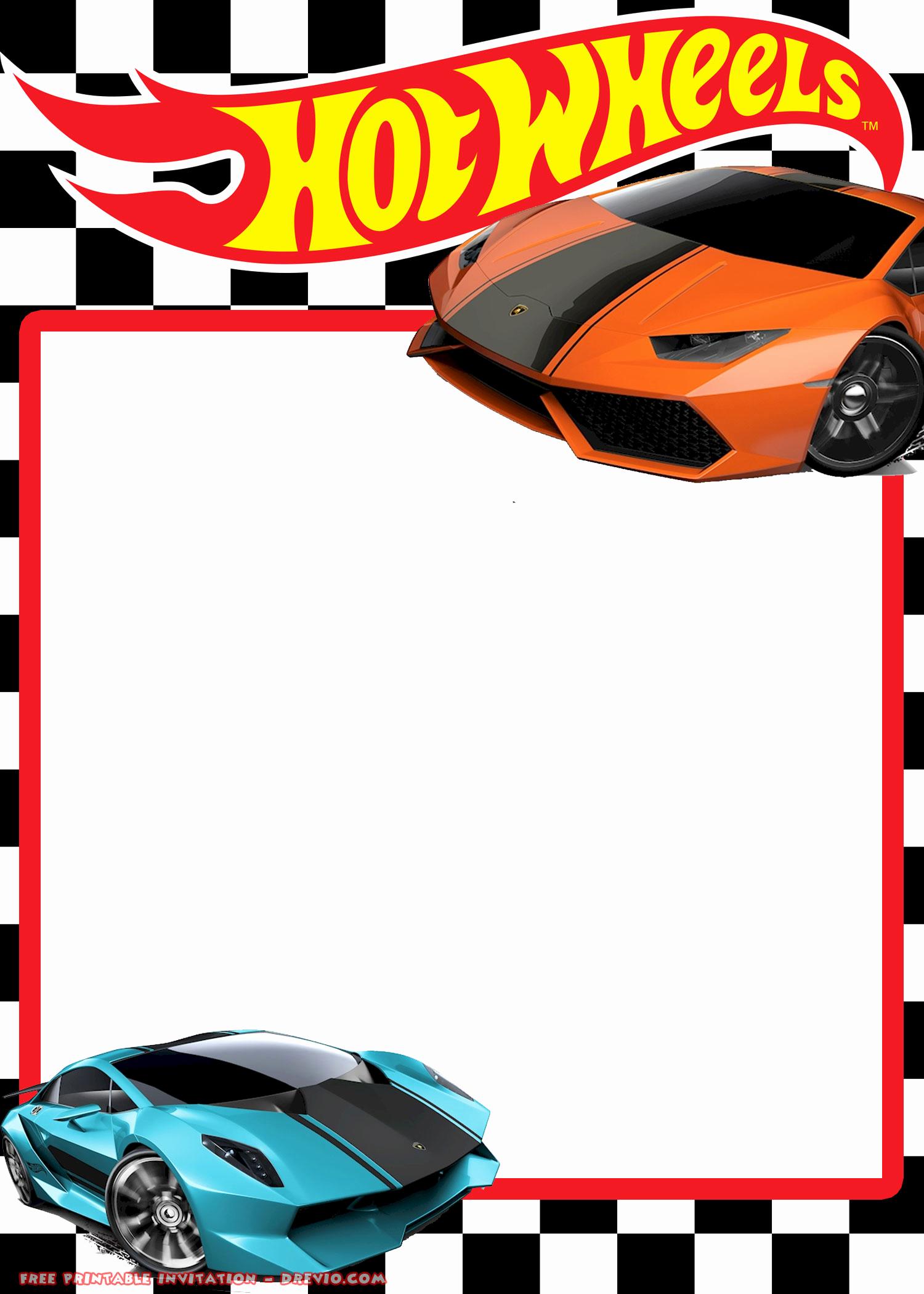 Hot Wheels Invitation Template Elegant Free Hot Wheels Lamborghini Invitation Templates