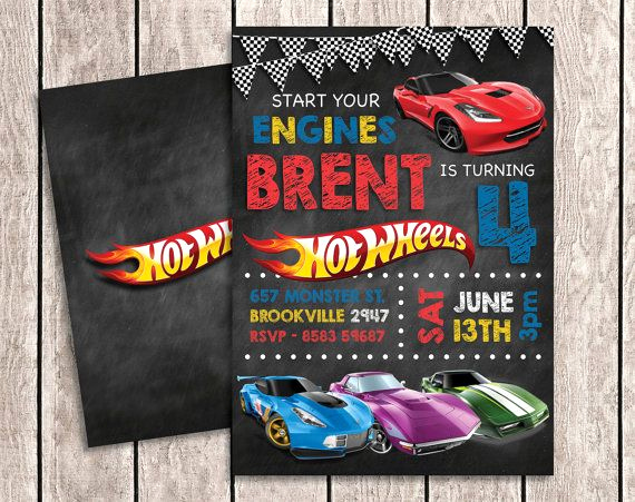 Hot Wheels Invitation Template Elegant Hot Wheels Chalkboard Birthday Invitation with by