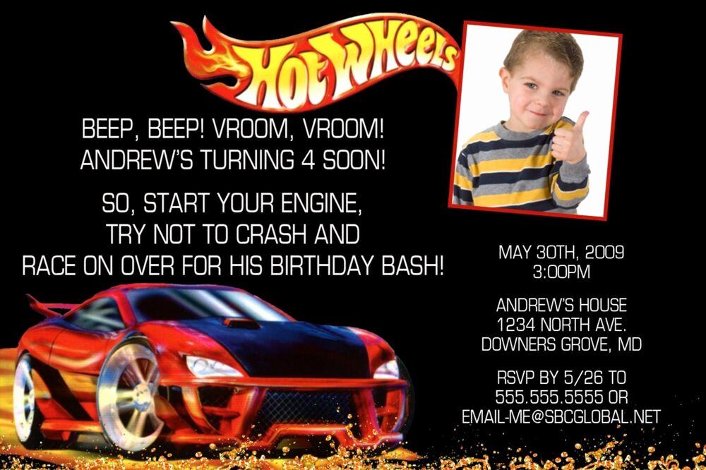 Hot Wheels Invitation Template Fresh Personalized Hot Wheels Invitation