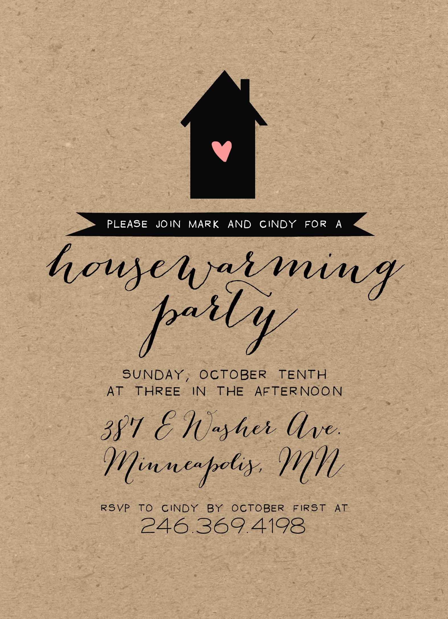 House Blessing Invitation Wording Elegant Kraft Housewarming Party Invitation Rustic Shabby Chic