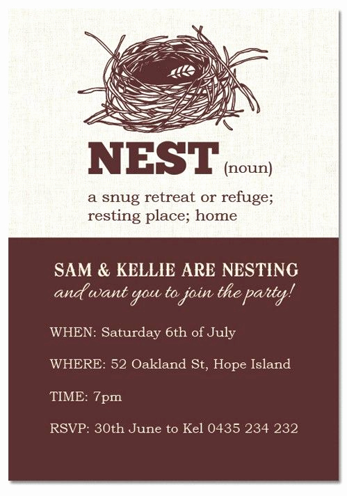 "House Blessing Invitation Wording Elegant Only $1 00 Each Check Out Our ""nest Noun "" Housewarming"