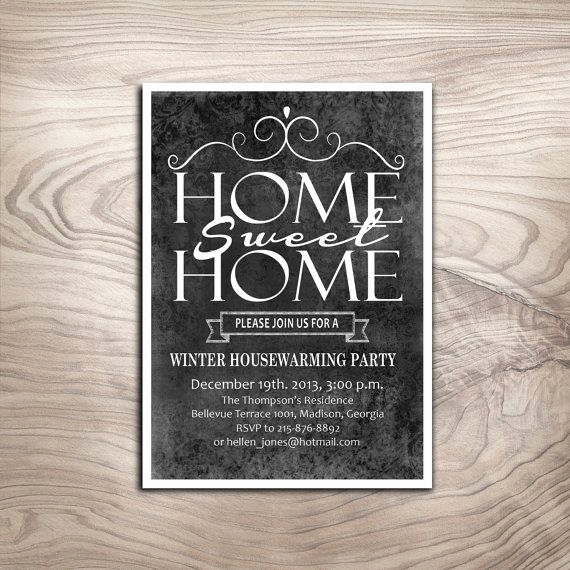 House Blessing Invitation Wording Inspirational Chalkboard Housewarming Party Invitation Winter Diy