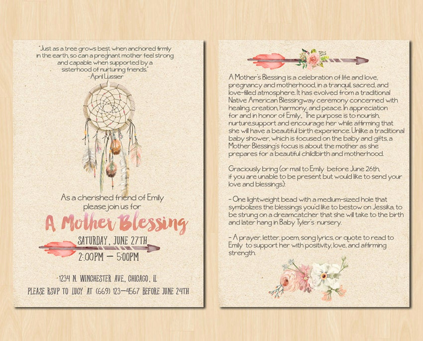 House Blessing Invitation Wording Luxury Dream Catcher Mother Blessing Invitation Blessingway