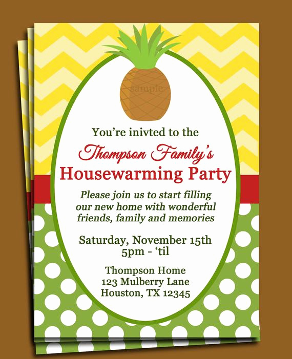 House Warming Invitation Message Elegant Pineapple Invitation Printable or Printed with Free