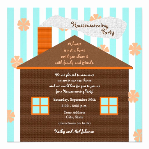 "House Warming Invitation Message Luxury Housewarming Party Invitation Brown House 5 25"" Square"