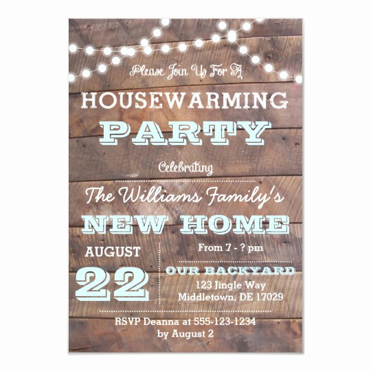 House Warming Party Invitation Template Inspirational Barnwood Lights Aqua Housewarming Invitations