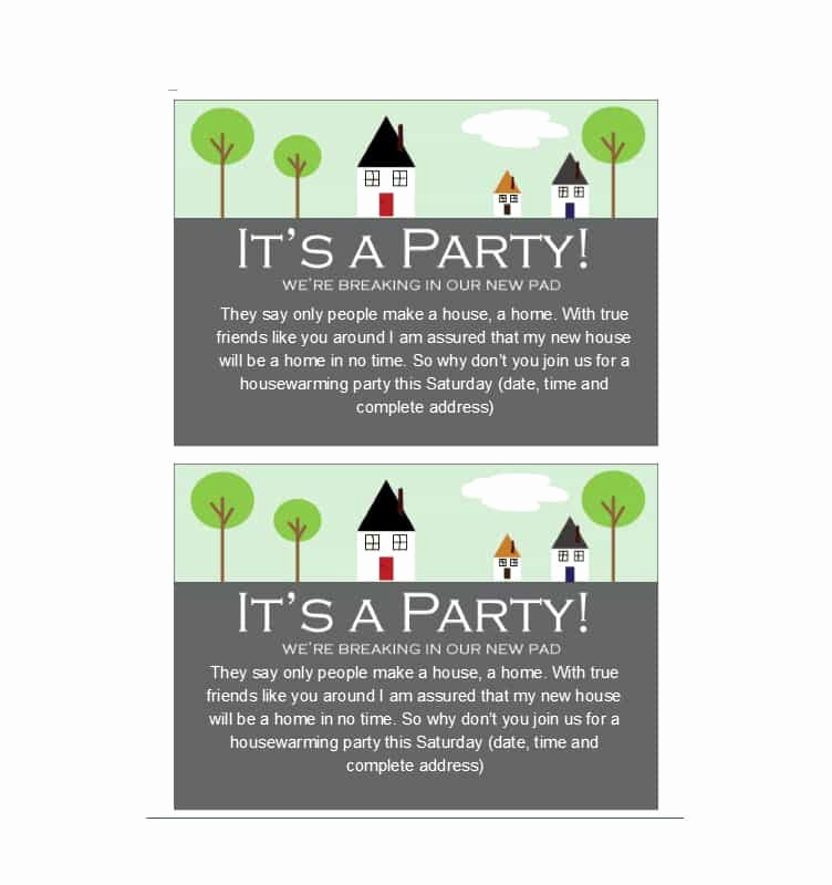 Housewarming Invitation Template Free Unique 40 Free Printable Housewarming Party Invitation Templates