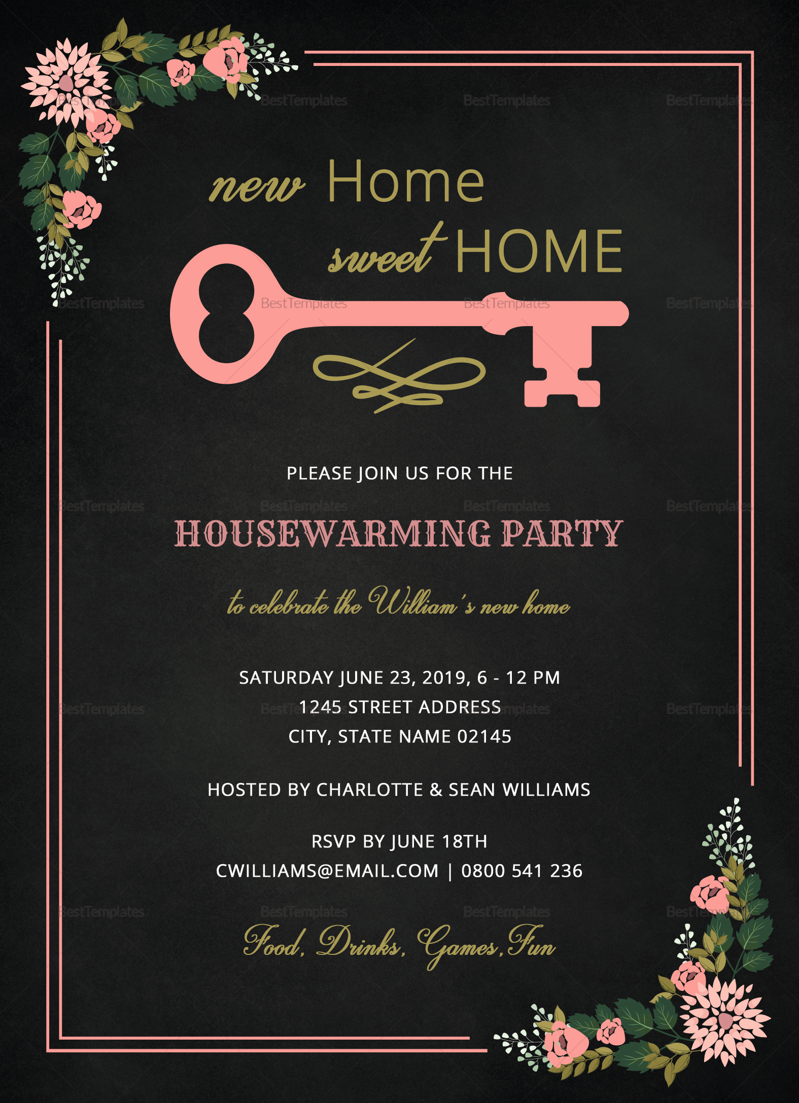 Housewarming Invitation Template Microsoft Word Fresh Chalkboard Housewarming Invitation Design Template In Word