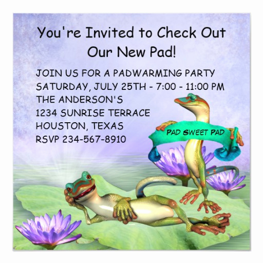 Housewarming Invitation Wording Funny Luxury Gecko Water Lily Pad Fun Housewarming Party Invitation