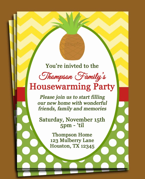 Housewarming Invitation Wording Samples Fresh Pineapple Invitation Printable or Printed with Free Shipping