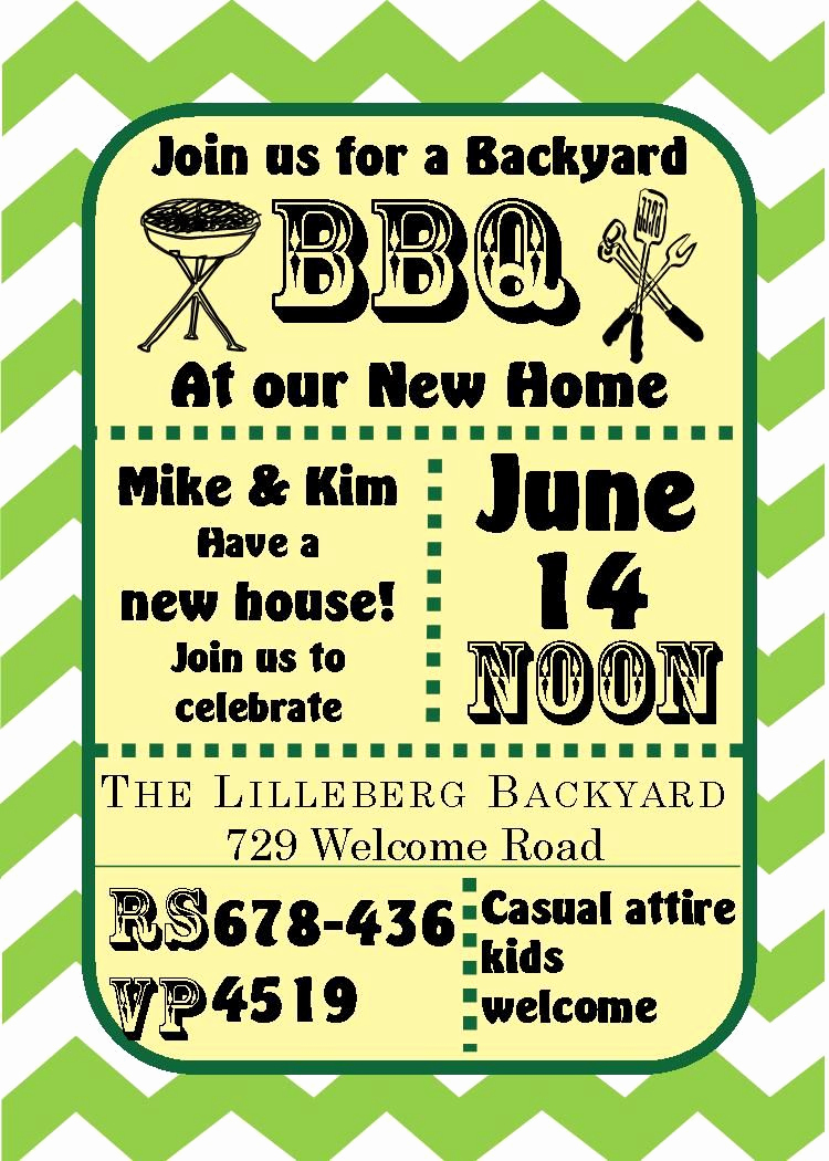 Housewarming Open House Invitation Wording Lovely Green Chevron Bbq Housewarming and Open House
