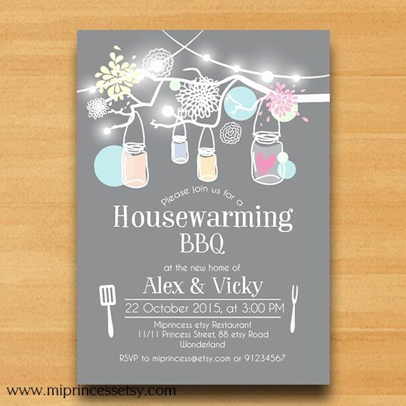 Housewarming Party Invitation Ideas Fresh Mason Jar Housewarming Party Invitation Housewarming Bbq