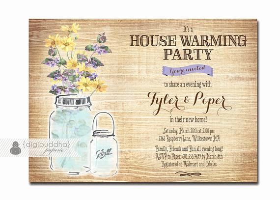 Housewarming Party Invitation Wording Lovely Mason Jar Housewarming Invitation Rustic Wood Watercolor