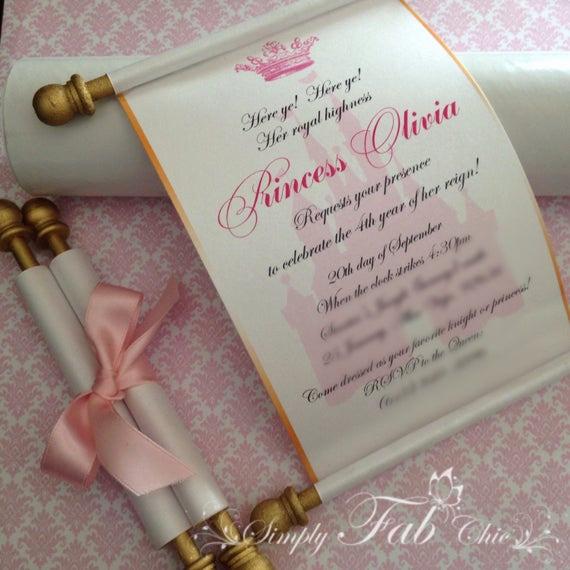 How to Make Scroll Invitation Fresh Royal Disney Princess Scroll Invitation Birthday Wedding