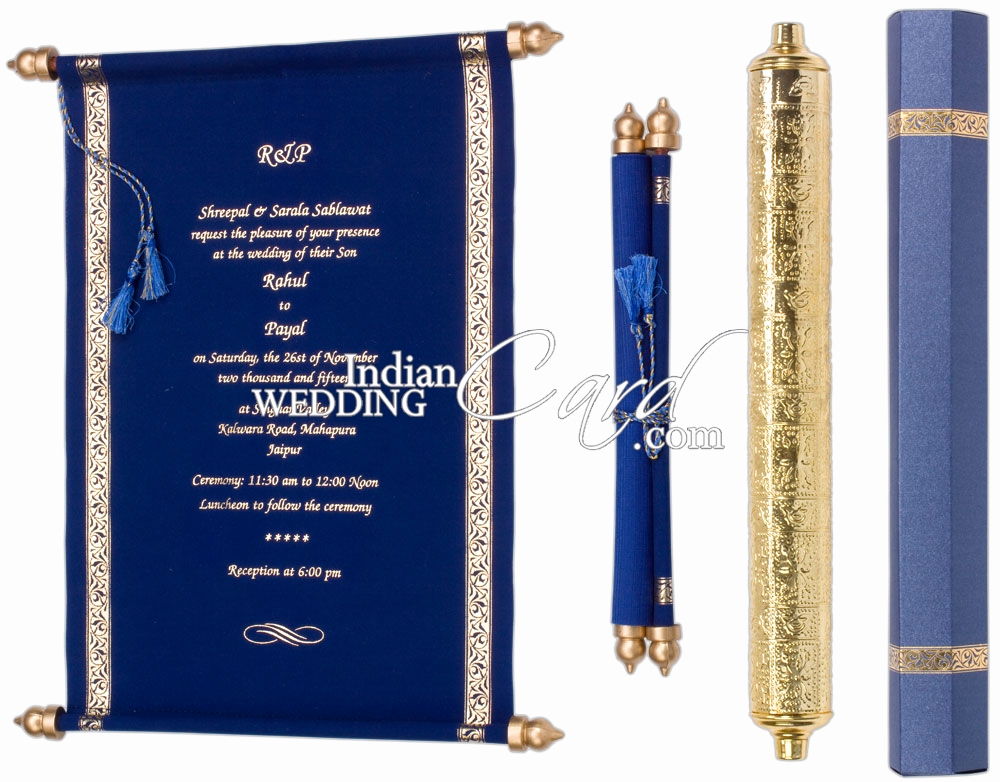 How to Make Scroll Invitation Luxury S955 Blue Color Scroll Invitations