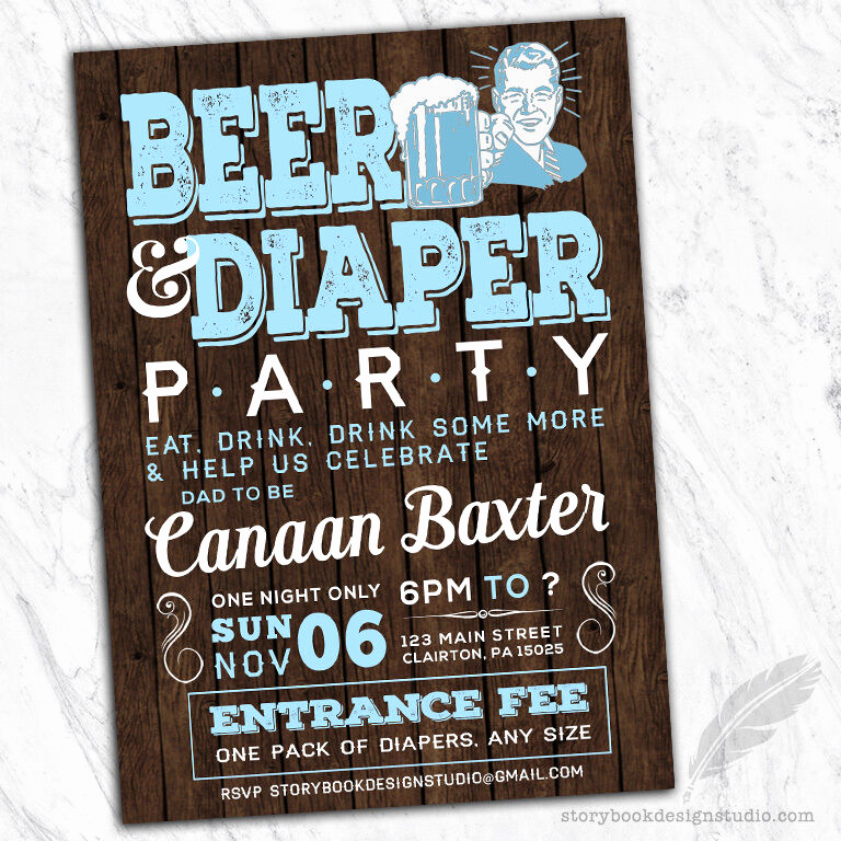 Huggies and Chuggies Invitation Awesome Beer and Diaper Party Baby Shower Invitations Printed