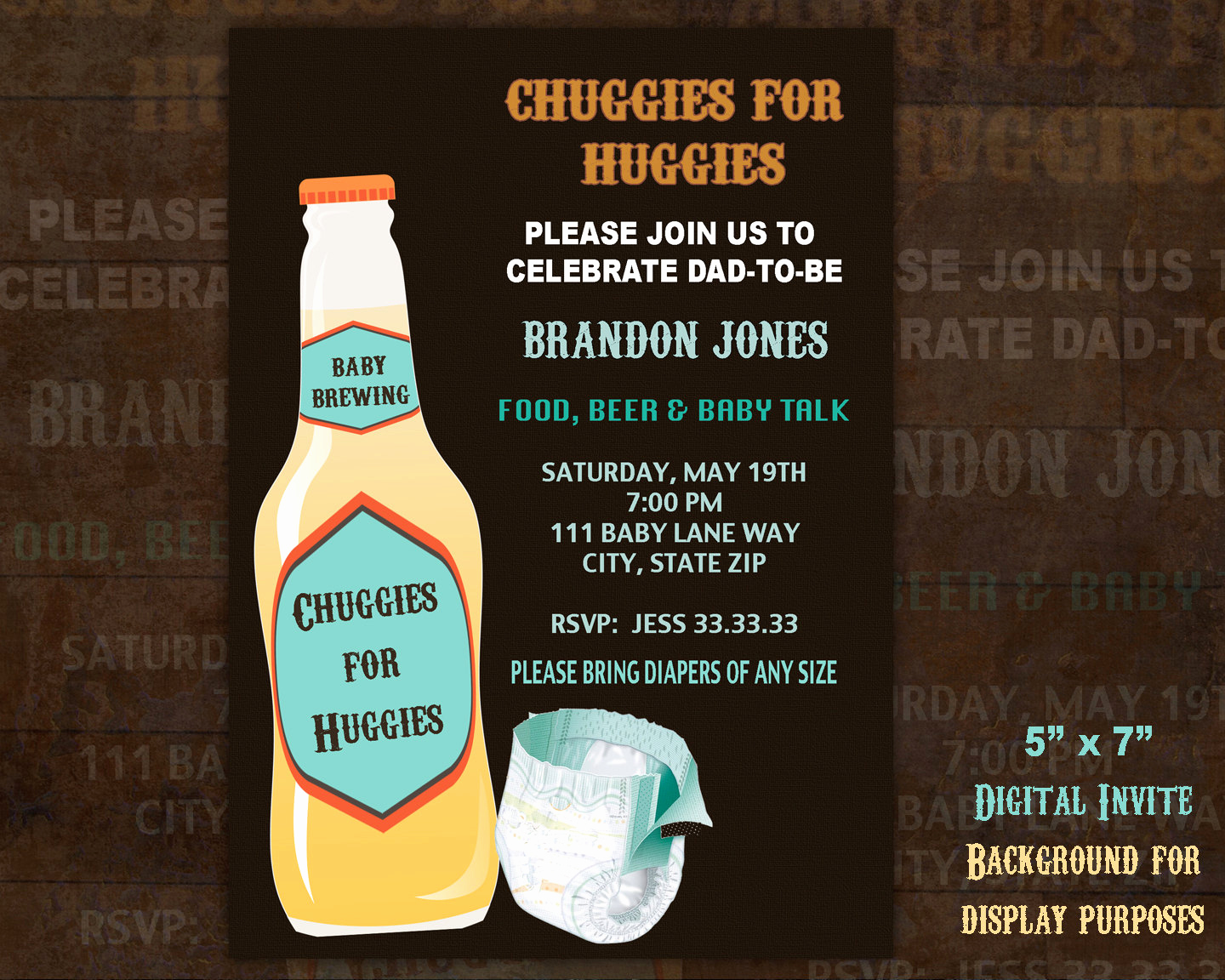 Huggies and Chuggies Invitation Awesome Chuggies for Huggies Diaper Party Invitation Men S Baby