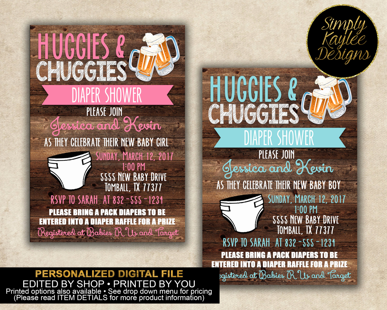Huggies and Chuggies Invitation Awesome Huggies and Chuggies Baby Shower Invitation