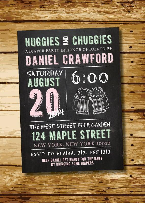 Huggies and Chuggies Invitation Beautiful Huggies & Chuggies Chalkboard Man Shower Diaper Party