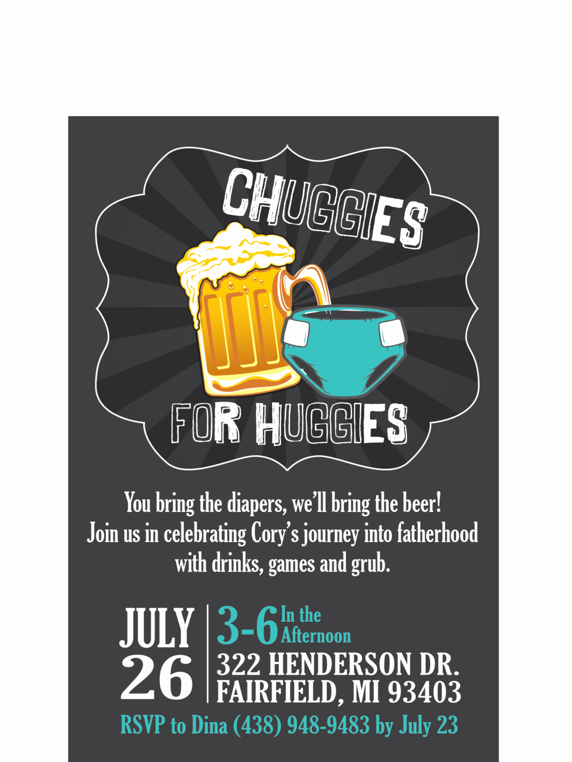 Huggies and Chuggies Invitation Best Of Chuggies for Huggies Customizable Diaper Party Invitation