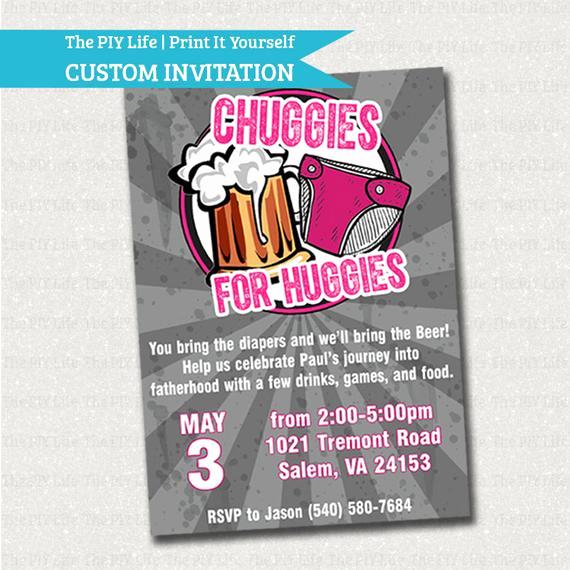 Huggies and Chuggies Invitation Elegant Baby Shower Invitation