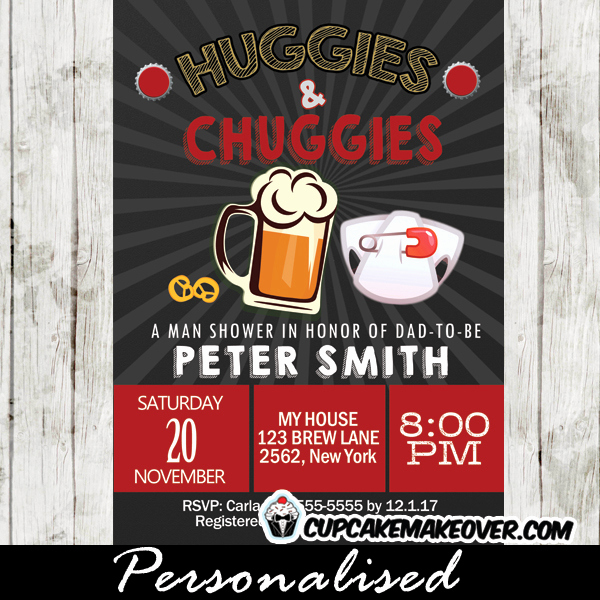 huggies and chuggies invitations red diapers and beer baby shower