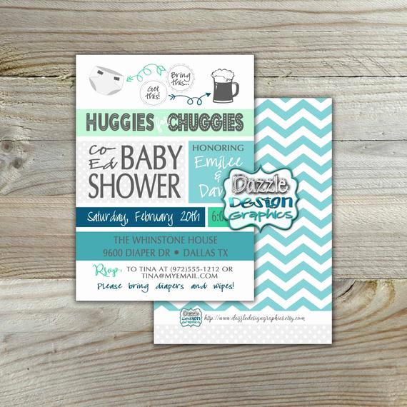 Huggies and Chuggies Invitation Fresh Diaper Shower Invitation 5x7 Linen Huggies for Chuggies Baby