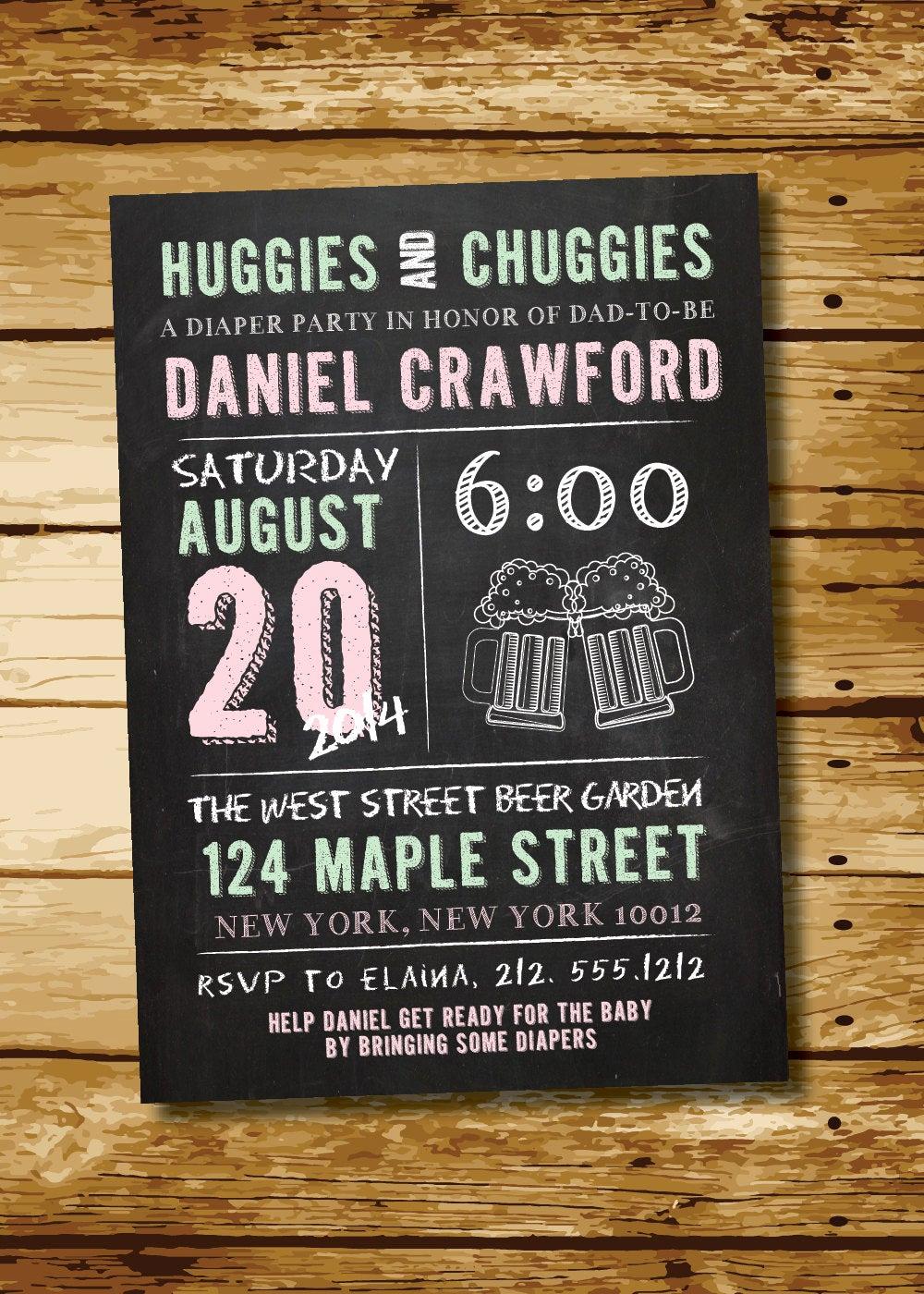 Huggies and Chuggies Invitation Lovely Huggies & Chuggies Chalkboard Man Shower Diaper Party