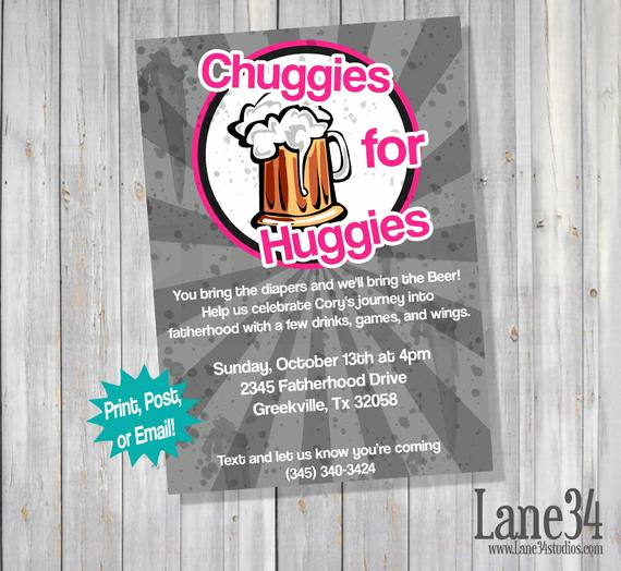 Huggies and Chuggies Invitation New Pink Chuggies for Huggies Dad Baby Shower by Lane34party