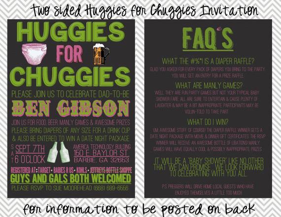 Huggies and Chuggies Invitation Unique Two Sided Huggies for Chuggies Diaper Shower Invitation