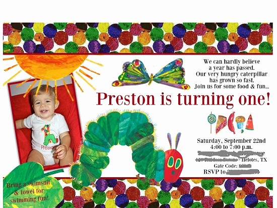 Hungry Caterpillar Invitation Template Awesome Hungry Caterpillar Birthday Invitations Ideas – Bagvania